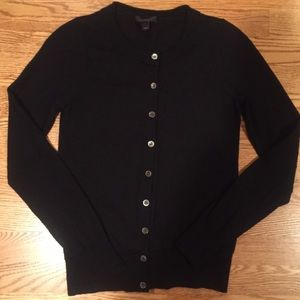 J. Crew 100% merino wool rich black cardigan.